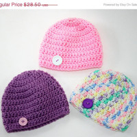 15% off Baby girl hats pink, purple white set of three crochet newborn 0-3 month photo prop