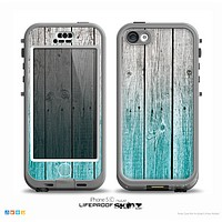 The Trendy Teal to White Aged Wood Planks Skin for the iPhone 5c nüüd LifeProof Case