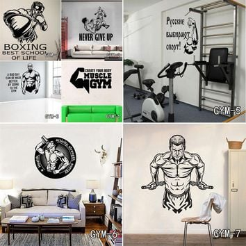 Fitness Gym Wall Decal Vinyl Wall Sticker Sport Home Mural Art Home Decor Free Shipping
