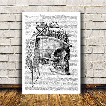 Dictionary print Human skull poster Modern decor Anatomy art RTA333