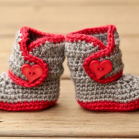 Crochet Baby Booties - Baby Boots - Grey and Red with Heart Button - Valentine's Love - Baby Girl Booties - UGG Inspired