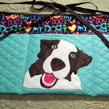 Hyper Dog Apron for Dog Agility, Dog Obedience, Horse Training Apron - Appliqued Border Collie Australian Shepherd