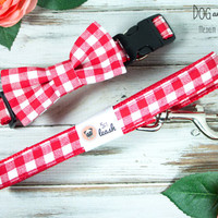 Red Gingham Dog Collar with Removable Bow Tie