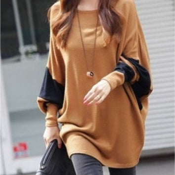 Coffee Blends Women Fashion Round Neck Bat Sleeve New Korean Autumn Style Simple Casual Loose Tops Sweaters (Color: Coffee)