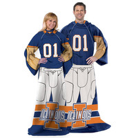 Illinois Fighting Illini NCAA Adult Uniform Comfy Throw Blanket w- Sleeves