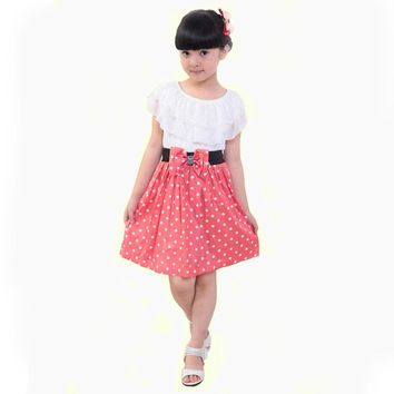Fashion Kid Teenage Girls Polka Dots Ruffles Dress Summer Costume Princess Casual Dress For 7--16y Children's Clothes Pink Blue