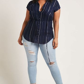 Plus Size Striped Belted Shirt