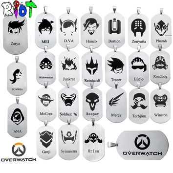 24 types OW Overwatch Pendant Necklace dog tag All heroes logo tracer