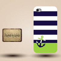 iphone case, i phone 4 4s 5 case,cool cute iphone4 iphone4s  5 case,stylish plastic rubber cases cover,Navy blue green Sailor Anchor p1063