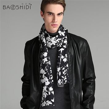 [BAOSHIDI]Men Silk wool double face scarf,one side 100% twill silk printed,the other side 100% wool dyed,get pocket scarf free