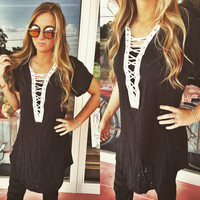 Distressed Lace Up Black