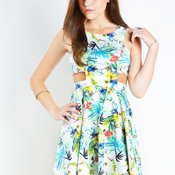 Side Cutting Tropical Dress
