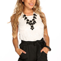 Black White Floral Eyelash Lace Waist Tie Cute Summer Romper
