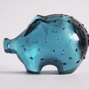 Vintage  Petrol Blue Glass  Pig Money Box Piggy Bank- Jacob E Bang for Holmegaard 1960