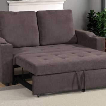 Poundex F6580 Daryl III cappuccino linen like fabric love seat set with pull out sleep area chaise