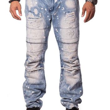 Men's Ripped & Repair Denim Blue Jeans - Fall Collection