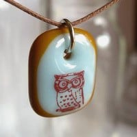 Owl on Blue and Brown A fused glass pendant necklace by ellecools