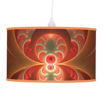 Luminous abstract modern orange red Fractal Hanging Lamp