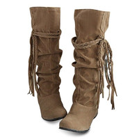 Suede Knee High Tassel Design Boots