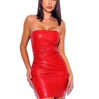 Yashira Red Leather Strapless Ruched Side Detail Dress