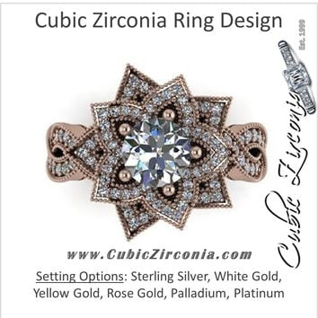 Cubic Zirconia Engagement Ring- (2.68 Carat Flower-Inspired Halo with Infinity Pave Band and Milgrain)