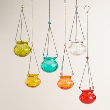 Glass Melon Hanging Tealight Lanterns Set of 6