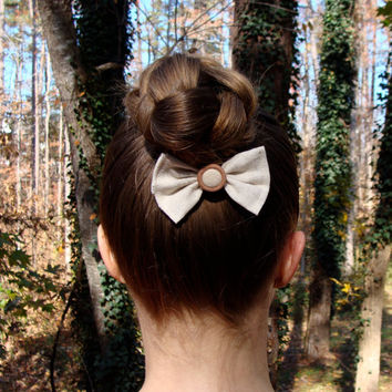 "Small Linen Bow, Neutral Hair Bow, Vintage Button Bow, Eco Friendly Hair Accessory, Earthy Hair Bow, Eco Gift Under 10 - ""Cream & Sugar"""