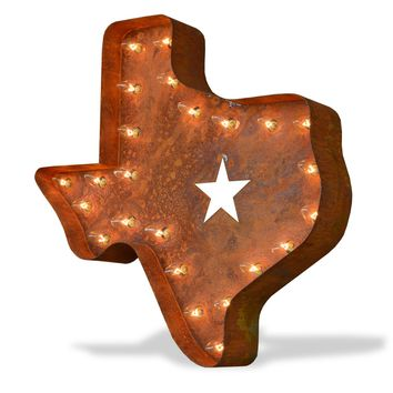 Texas Vintage Marquee Lights Sign (Rustic)