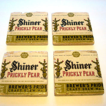 Shiner Prickly Pear Texas Beer Tumbled Tile Coasters - Set of Four Texas Craft Beer Coasters