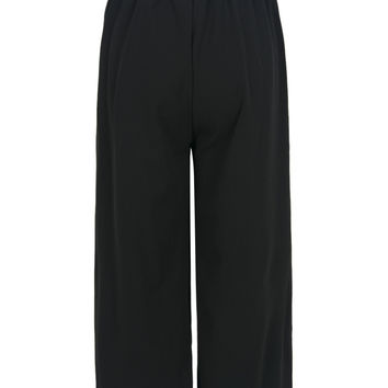 Black Stretch Waist Cropped Palazzo Pants