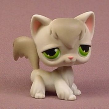 Littlest Pet Shop #20 Light Gray Longhair Kitty Cat Kitten With Green Eyes - RONS RESCUED TREASURES