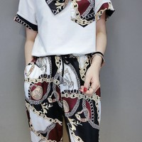 """Versace""Women Casual Wild Fashion Letter Spell Color Printing  Short Sleeve Trousers Two-Piece Casual Wear"