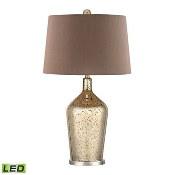 Glass Bottle LED Table Lamp In Gold Antique Mercury Glass Antique Gold Mercury,Polished Nickel