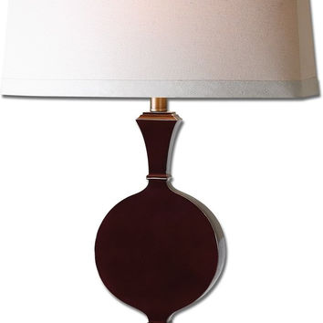 "0-025168>31""h Aileen 1-Light Table Lamp Oxblood Red / Antiqued Gold"