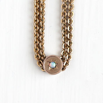 Antique Gold Filled Star Incised Opal Slide Charm Necklace - Vintage Victorian Fob Pocket Watch Chain Layered Gemstone Pendant Jewelry