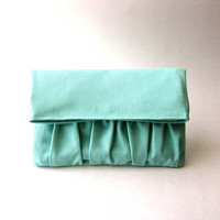 Fold over, handbag, clutch, pouch - Delicada Fold Over Clutch in Mint Cotton