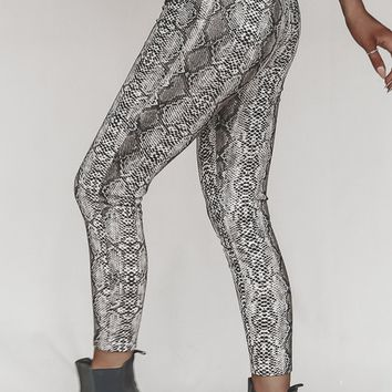 Call Me Maybe Taupe Snake Leggings