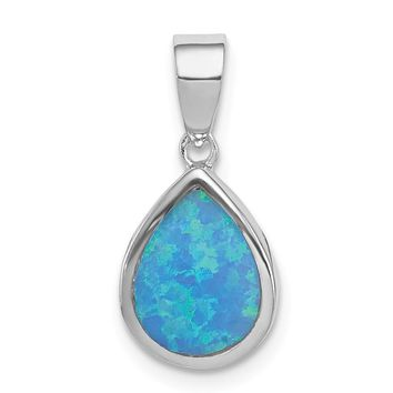 925 Sterling Silver Rhodium Plated Synthetic Opal Polished Teardrop Shaped Pendant