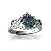 14kt White Gold Lab Alexandrite 6mm Heart Claddagh Celtic Knot Ring - Size 4.5
