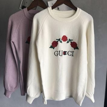 ESBCG8 GUCCI  Knitted and embroidered rabbit fur thermal sweater