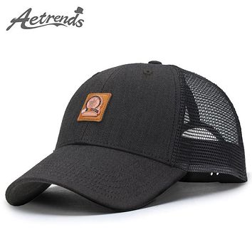 Trendy Winter Jacket [AETRENDS] Black cap mesh baseball caps 2018 summer hats for men gorras deportivas outdoor golf truck custom hat snapback Z-3889 AT_92_12