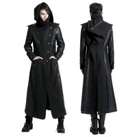 Black Alternative Gothic Vampire Long Windbreaker