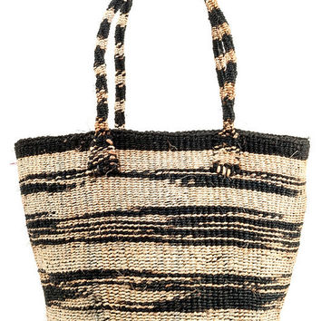 Small Hand Woven Zebra Stripe Sisal Tote Bag