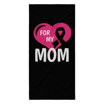 Breast Cancer Beach Towel - For My Mom (Black)