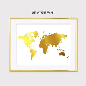 Gold Foil The World Map Wall Print Inspiration Map Golden Foil Painting Art Gift Wall Poster Home Decoration No Frame