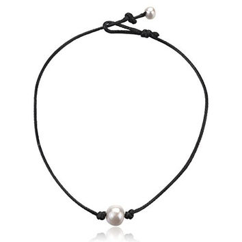 "Udobuy18 "" Single Freshwater Pearl Necklace for Women Black Handmade Leather Pearl Choker Jewelry Handmade"
