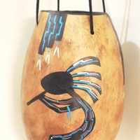 Kokopelli Painted Hanging Gourd Basket with Leather Ties