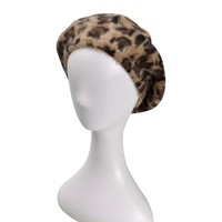ZLYC Women's Classic French Artist Rabbit Fur Fashion Beret Hat in Leopard Print