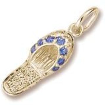 Blue Sapphire Sandal Charm in Yellow Gold Plated