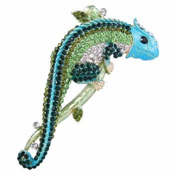 Bella Fashion Luxury Enamel Chameleon Brooch Pins Austrian Crystal Animal Rhinestone Brooches For Women Party Jewelry Gift